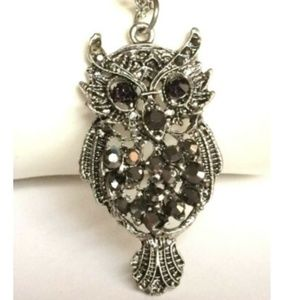 Silver Owl Necklace Black Crystal Bird 20-23""